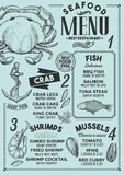 Seafood menu restaurant, food template. Seafood restaurant menu. Vector food flyer for bar and cafe. Design template with vintage hand-drawn illustrations Stock Photography
