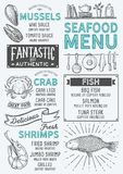 Seafood menu restaurant, food template. Seafood restaurant menu. Vector food flyer for bar and cafe. Design template with vintage hand-drawn illustrations Royalty Free Stock Photo