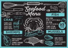 Seafood menu restaurant, food template. Seafood restaurant menu. Vector food flyer for bar and cafe. Design template with vintage hand-drawn illustrations Stock Images