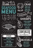 Seafood menu restaurant, food template. Seafood restaurant menu. Vector food flyer for bar and cafe. Design template with vintage hand-drawn illustrations Royalty Free Stock Photos