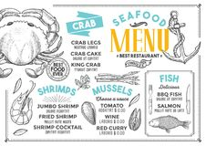 Seafood menu restaurant, food template. Seafood restaurant menu. Vector food flyer for bar and cafe. Design template with vintage hand-drawn illustrations Royalty Free Stock Image