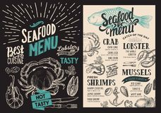 Seafood menu for restaurant. Vector food flyer for bar and cafe. Design template with vintage hand-drawn illustrations royalty free illustration