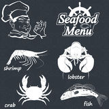 Seafood menu. Menu for the restaurant with seafood. Vector Illustration Stock Images
