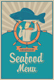 Seafood menu. Retro seafood menu with the chef with fish on his head Royalty Free Stock Photo