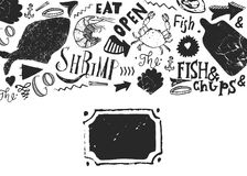 Seafood menu with sketch fish and lettering. Identity for restaurant and cafe. Hand drawn Design template with hand. Drawn illustrations Royalty Free Stock Image