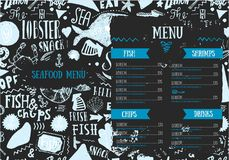 Seafood menu with sketch fish and lettering. Identity for restaurant and cafe. Hand drawn Design template with hand. Drawn illustrations on dark chalkboard Stock Images