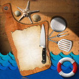 Seafood - Menu Template. Cutting board on a wooden wall with empty parchment, kitchen utensils, lifebuoy, stylized waves, seashells and starfish. Template for stock illustration
