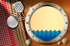 Seafood - Menu Template. Metal porthole with blue waves and yellow paper, seashells, kitchen utensils, ropes and red checked tablecloth. Template for recipes or Royalty Free Stock Images