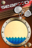 Seafood - Menu Template. Metal porthole with blue waves and yellow paper, seashells, kitchen utensils, ropes and red checked tablecloth. Template for recipes or Stock Photo