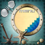 Seafood - Menu Template. Metal porthole with blue waves, yellow paper and written Menu on blue background with seashells, starfish, rusty anchor and kitchen Stock Photography