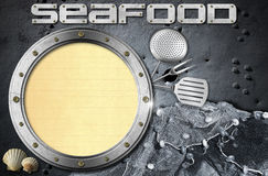 Seafood - Menu Template. Metal porthole with yellow lined paper, kitchen utensils, fishing net and seashells. Template for recipes or seafood menu Stock Image
