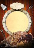 Seafood - Menu Template. Metal porthole with yellow lined paper on wooden background, kitchen utensils, rusty anchor and fishing net. Template for recipes or Stock Image