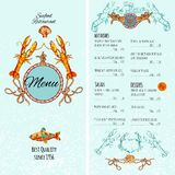 Seafood Menu Template. Seafood restaurant menu card template with premium fish dishes vector illustration Stock Photography