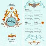 Seafood Menu Template Stock Photography