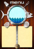 Seafood - Menu Template. Restaurant fish menu with metal porthole, stylized waves, yellow empty pages, kitchen utensils and seashell Royalty Free Stock Photo