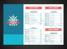 Seafood Menu Template Stock Photography