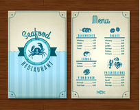 Seafood Menu Template. Seafood restaurant menu template with ocean design symbols vector illustration vector illustration