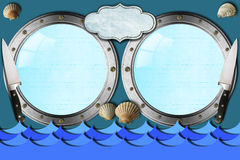 Seafood - Menu Template. Two metal portholes with blue waves, kitchen knife, empty label and seashells, template for recipes or seafood menu Royalty Free Stock Images
