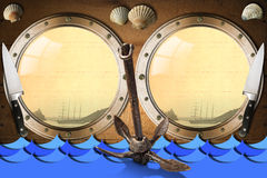 Seafood - Menu Template. Two metal portholes with blue waves on wooden wall, kitchen knives, rusty anchor and seashells, template for recipes or seafood menu Stock Photo