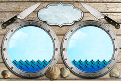 Seafood - Menu Template. Two metal portholes with waves, kitchen knife, empty label and seashells, template for recipes or seafood menu Royalty Free Stock Image