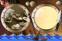 Seafood - Menu Template. Two metal portholes on wood wall with ropes and tablecloth, fishing boats, kitchen knife, rusty anchor and seashells. Template for Royalty Free Stock Images