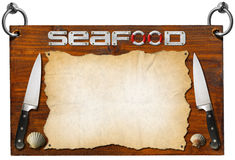 Seafood Menu - Wooden Signboard Royalty Free Stock Photo