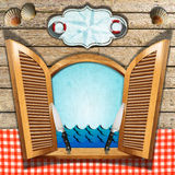 Seafood Menu on Wooden Window Stock Photo