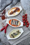 Seafood meze dishes royalty free stock photo
