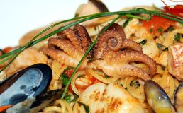 Seafood mix. In portuguese restaurant Stock Photo