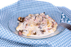 Seafood mix. In cheese sauce Stock Image