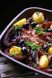 Seafood mix on plate. Seafood mix with vegetable on plate Royalty Free Stock Image