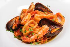 Seafood mixed saute Royalty Free Stock Photo