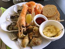 Seafood, Mixed seafood, Shrimp, shell, oyster, bread, Mustard. Seafood, Mixed seafood Shrimp shell oyster bread Mustard Stock Image