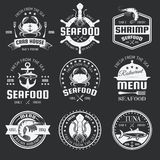 Seafood Monochrome Emblems Royalty Free Stock Image