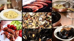 Seafood montage stock video