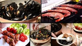 Seafood montage stock video footage