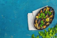 Seafood mussels with lemon and parsley in black metal plate royalty free stock images