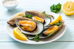 Mussels with lemon and parsley. Seafood mussels with lemon and parsley stock photography