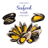 Seafood. Mussels. Royalty Free Stock Photos