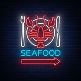 Seafood neon logo icon vector illustration. Lobster emblem, neon advertisement, night sign for the restaurant, cafe, bar. With seafood. Glowing banner, a Royalty Free Stock Photography