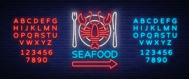 Seafood neon logo icon vector illustration. Lobster emblem, neon advertisement, night sign for restaurant, cafe, bar. With seafood. Glowing banner, a template Royalty Free Stock Photo