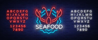 Seafood neon logo icon vector illustration. Lobster emblem, neon advertisement, night sign for restaurant, cafe, bar. With seafood. Glowing banner, a template Stock Image