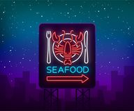 Seafood neon logo icon vector illustration. Lobster emblem, neon advertisement, night sign for the restaurant, cafe, bar. With seafood. Glowing banner, a Royalty Free Stock Photos
