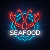 Seafood neon logo icon vector illustration. Lobster emblem, neon advertisement, night sign for the restaurant, cafe, bar. With seafood. Glowing banner, a Royalty Free Stock Photo