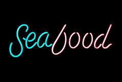 Seafood Neon Sign Stock Image