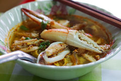 Seafood noodle ,shrimp,squid,crab and crayfish is food of Chantaburi Thailand. Royalty Free Stock Image