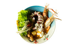 Seafood noodle. On white background Royalty Free Stock Image