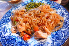 Seafood noodlemania 9. Noodles with seafood on a plate Royalty Free Stock Image