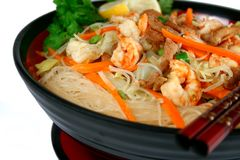 Seafood noodles. Bowl of vermicelli seafood noodles stock image