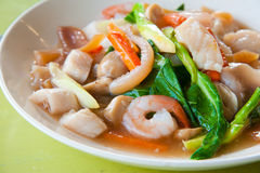 Seafood and Noodles in a Creamy Sauce Royalty Free Stock Image